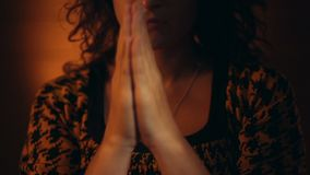Hand gestures. Woman praying to god. stock video