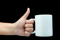 Hand gesturing a good cup of drink Stock Photos