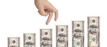 Hand gesturing moving over US dollars Stock Photography