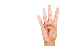 Hand gesturing number four against white background. Hand gesturing number four against white background Stock Images