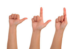 Hand gesturing signs on isolation Stock Image