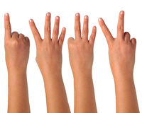 Hand gesturing signs on isolation Stock Images