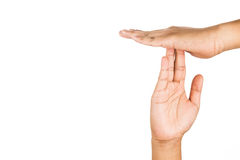Hand gesturing time-out, against white background. Royalty Free Stock Photography