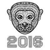 Hand getrokken Aaphoofd, symbool van Nieuwjaar 2016, zentangle illus Royalty-vrije Stock Afbeelding