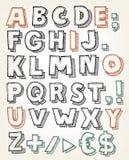 Hand Getrokken ABC-Elementen Stock Afbeelding