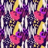 Hand getrokken abstract grunge vector naadloos patroon Achtergrond met inkt wordt geschilderd die Gele roze violette witte kleur  royalty-vrije illustratie