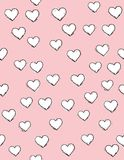 Hand Getrokken Abstract Hart Vectorpatroon Witte Harten met Zwart Overzicht Zachte roze achtergrond Leuk Gevoelig Ontwerp stock illustratie