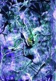 Hand getrokken abstract kunstwerk in de stijl van acryl en waterverfverven met smaragdgroen, violet en wit gekrabbel, krassen stock foto