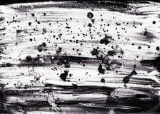 Hand getrokken abstracte grunge feestelijke achtergrond Zwart-witte textuur met plonsen van acryl of olieverf royalty-vrije stock fotografie