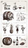 Hand getrokken alcoholische dranken Retro menuontwerp royalty-vrije illustratie