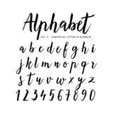 Hand getrokken Alfabet Manuscriptdoopvont Borsteldoopvont vector illustratie