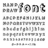 Hand getrokken alfabet. Met de hand geschreven doopvont Stock Afbeeldingen