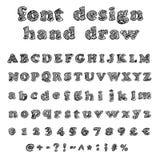Hand getrokken alfabet. Met de hand geschreven doopvont Stock Afbeelding