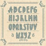 Hand getrokken alfabet met krabbelbrieven Vector geplaatste illustraties stock illustratie