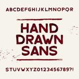 Hand getrokken alfabetdoopvont Vuil zonder serif letters en getallen Royalty-vrije Stock Foto