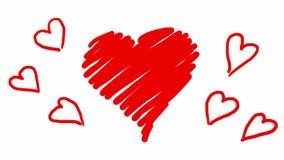 Hand getrokken animatie rode harten in gekrabbelstijl De lijnfilm van het krabbelbeeldverhaal voor Valentijnskaartendag royalty-vrije illustratie