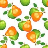 Hand getrokken appelen en peren naadloos patroon op witte achtergrond Royalty-vrije Stock Afbeeldingen