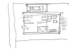 Hand Getrokken Architectuurschets met zwarte inkt vector illustratie