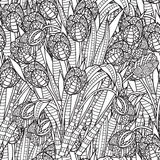 Hand getrokken artistiek etnisch sier gevormd bloemenkader Stock Fotografie