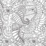 Hand getrokken artistiek etnisch sier gevormd bloemenkader Stock Foto's