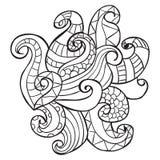 Hand getrokken artistiek etnisch sier gevormd bloemenkader in krabbelstijl, volwassen kleurende pagina's, tatoegering Royalty-vrije Stock Foto's