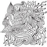 Hand getrokken artistiek etnisch sier gevormd bloemenkader in krabbelstijl, volwassen kleurende pagina's, tatoegering Royalty-vrije Stock Fotografie