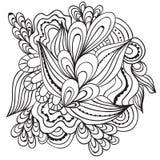 Hand getrokken artistiek etnisch sier gevormd bloemenkader in krabbelstijl, volwassen kleurende pagina's, tatoegering Royalty-vrije Stock Afbeelding