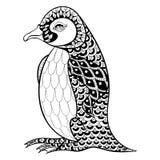 Hand getrokken artistiek Koning Penguin, zentangle illustartion vector illustratie