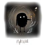 Hand getrokken artistieke creatieve kunstwerkillustratie met zwart leuk monster met kaars in het bos van de nachtfee royalty-vrije illustratie