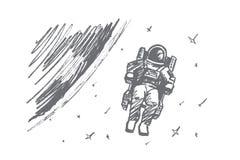 Hand getrokken astronaut die in kosmische ruimte drijven Stock Foto's
