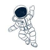 Hand Getrokken Astronaut Doodle vector illustratie