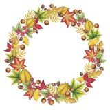Hand Getrokken Autumn Leaves Wreath royalty-vrije illustratie
