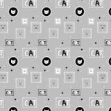 Hand getrokken background_gray kattenpatroon Vector Illustratie