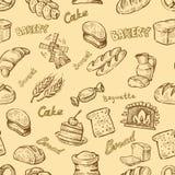 Hand getrokken bakkerij Stock Foto
