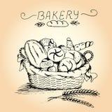 Hand getrokken bakkerij in de mand royalty-vrije illustratie
