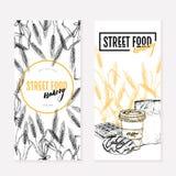 Hand getrokken bakkerijvliegers De creatieve banner van het straatvoedsel Tarwevaten, cofee, doughnut, wafels, document zak Gegra vector illustratie