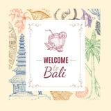 Hand Getrokken Balinese Achtergrond stock illustratie