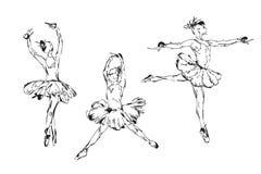 Hand getrokken Ballerinadans in tutu stock illustratie