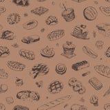 Hand getrokken banketbakkerij en bakkerijpatroon vector illustratie