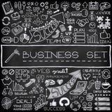 Hand getrokken bedrijfs geplaatste pictogrammen Stock Foto's