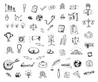 Hand Getrokken bedrijfs geplaatste pictogrammenkrabbels De pictogrammen van de schetsstijl decor vector illustratie