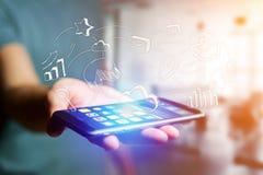 Hand getrokken bedrijfspictogram die een smartphoneinterface van A.M. uitgaan Royalty-vrije Stock Afbeelding