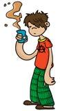 Slaperige jongen die een kop van koffie houden Stock Afbeelding