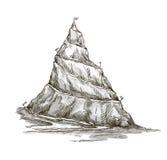 Hand getrokken berg. Bergpiek. kronkelige roa royalty-vrije illustratie