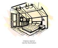Hand getrokken binnenlandse schets Het ontwerp van het huis De stijl van de slaapkamerprovence royalty-vrije illustratie