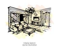 Hand getrokken binnenlandse schets Het ontwerp van het huis De stijl van de slaapkamerprovence vector illustratie