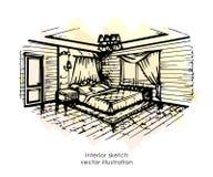 Hand getrokken binnenlandse schets Het ontwerp van het huis De stijl van de slaapkamerprovence stock illustratie