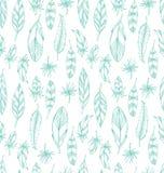 Hand getrokken blauw leer naadloos patroon stock illustratie