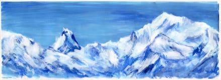 Hand getrokken blauwe Alpen Stock Afbeeldingen