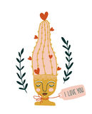 Hand getrokken bloeiende cactus in de ceramische pot met vrouwengezicht Vector illustratie royalty-vrije illustratie